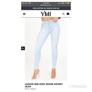 YMI Midrise Skinny Jeans Light Blue Wash